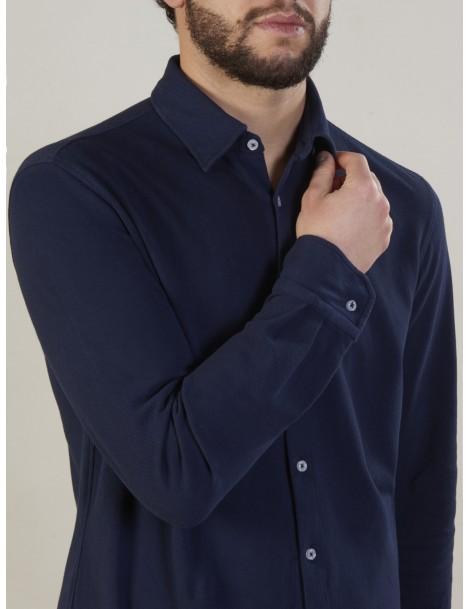 Camicie da Uomo - Camicia uomo cotone maglia piquet 100%, tinto