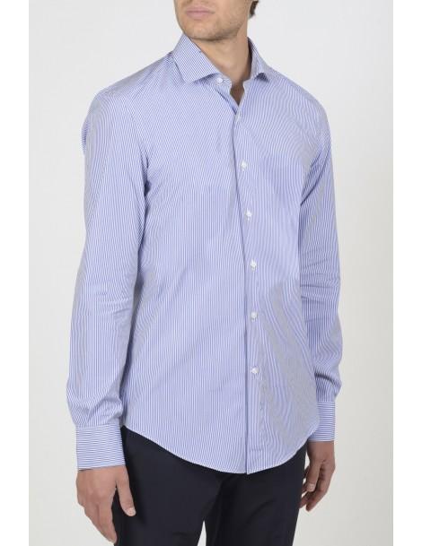 Camicie da Uomo - Camicia uomo cotone 100%, popeline rigato: